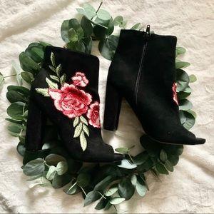 Black floral peep toe booties